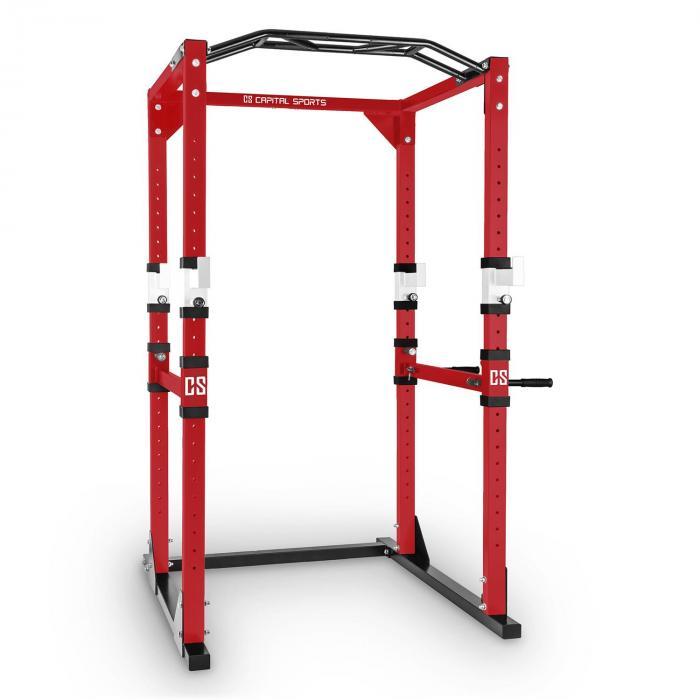Tremendour Power Rack Homegym Stahl rot weiß