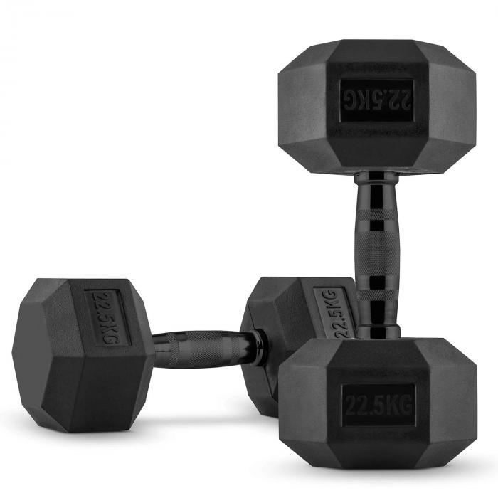 Hexbell Black Dumbbell Kurzhantel Paar 2 x 22,5 kg
